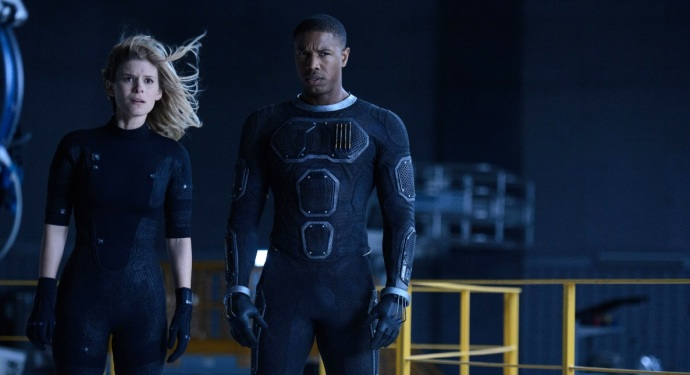 This photo provided by Twentieth Century Fox shows, Kate Mara, left, as Sue Storm, and Michael B. Jordan as Johnny Storm, in a scene from the film,